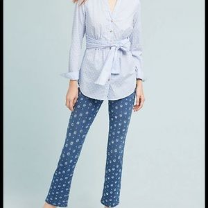 Anthropologie Embroidered High Rise Bootcut Jeans